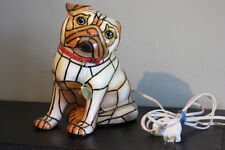 Tiffany Style Stained Glass Dog Precious Pug Table Lamp Bradford Exchange 2010