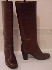 TANINO CRISCI Italian Tan Leather Vintage Knee High Boots Size EU 35 UK 2.5 US 5