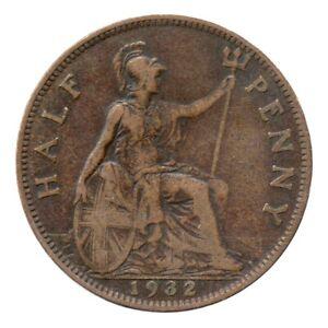 KM# 837 - Half Penny - Freeman 418 (3+B) - George V - Great Britain 1932 (F)