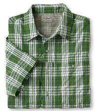 Men's LL Bean Cool Weave Trail Shirt-S/S-Small-NWT-Green Plaid