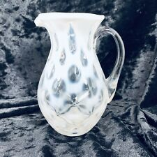 Fenton White Coin Dot Opalescent Pitcher Clear Smooth Handle 5.5 Vintage