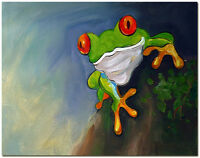 Red Eye Frog - Signed Hand Painted Frog Oil Painting On Canvas Wall Art
