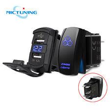 Dual USB Car Charger Voltmeter + 5Pin Rocker Switch LED Laser Zombie Light Blue
