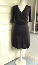 TED BAKER Jersey Dress Faux Wrap Draped Ambrose Charcoal Grey Size 2 UK 8