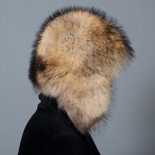 Full Cover Real Raccoon Fur Hat Russian Warmer Ushanka Cossack Ski Earflap Cap