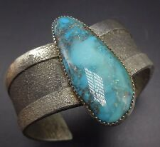 Vintage NAVAJO TUFA Cast Sterling Silver & TURQUOISE Cuff BRACELET