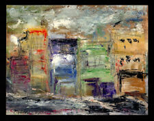 """""""Big City Small Planet"""" 2013 ORIGINAL Abstract OIL PAINTING Urban Street SIGNED"""