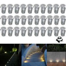 30X Warm White 19mm Low Voltage Yard Path Plinth LED Deck Rail Stair Lights Kit