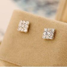 1Pair Crystal Rhinestone Square Magnetic CLIP Earrings Stud Mens Women Fashion/