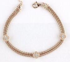 """Womens 925 Sterling Silver CZ Rose Gold Plated Bracelet Chain Italy Made 7"""""""