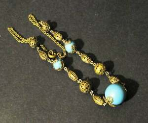 Vintage Art Deco Czech Neiger Filigree Necklace Faux Turquoise & Filigree Beads