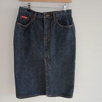 Lee Cooper Womens Denim Skirt Midi Front Slit Size 10 Blue