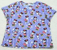 Disney Minnie Mouse Blue Scrubs V-Neck Tee T-Shirt Top XL Cotton Nurse X-Large