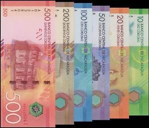 NICARAGUA SET 6 UNC 10 20 50 100 200 500 CORDOBAS 2015 POLYMER PAPER P 210 -215
