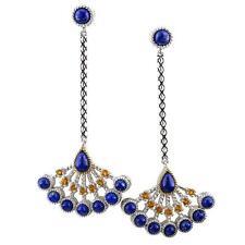 Andrea Candela 18 Ct Amarillo Dorado y Plata Azul Lapis Pendientes de Araña