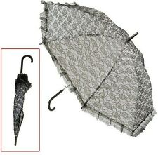 Ladies Gothic Victorian Steampunk Burlesque Black Laced Parasol Umbrella