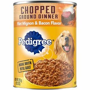 PEDIGREE Adult Canned Wet Dog Food Chopped Ground Dinner Filet Mignon & Bacon...