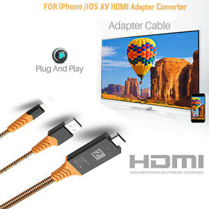 2m HDMI Kabel Adapter Video Full HD TV USB Cable für iPhone IPad ITouch TOP
