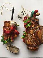 RAZ Imports Inc Golf Bags 2 Christmas Ornaments Plastic