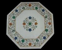 13 Inches Marble Coffee Table Inlay Side Table Top Precious Gem Stones