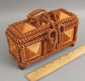 Small Antique Handmade Folk Art Woven Straw Box, NO RESERVE!