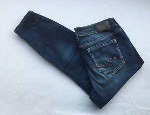 NEW Silver Jeans Women's SUKI Curvy Skinny Crop Mid Rise Plus Size F00810B