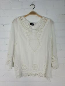 Gringo Fairtrade Cotton White Lace Detail 3/4 Sleeve Tunic Top One Size