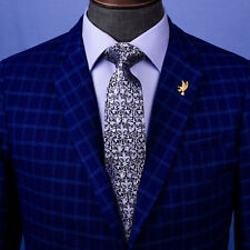 "Italian Fleur-De-Lis Navy Blue Tie Designer Crest Men 7.5 Necktie 3"" Modern Knot"