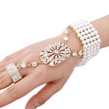 Beautiful Gold Rhinestone  Bracelet Cuff  Slave Chain Link Finger Ring
