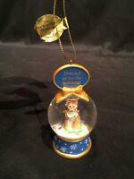 Danbury Mint Cat Snow Globe Christmas Ornament -Dressed up for Holidays - Lights