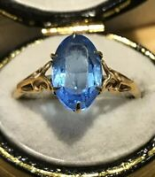 9ct Gold Marquise Cut Blue Paste Ring