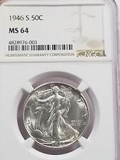 1946 S Walking Liberty Half Dollar 50c MS 64 NGC Gem BU 107-5