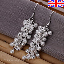 925 Sterling Silver plt Cluster Earrings Drop Dangle Grape Gift Bag