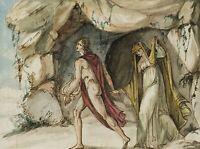Orpheus und Euridike, 18. Jahrhundert, Aquarell über Federzeichnung