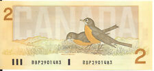 Bank of Canada $2 Two Dollars 1986 BBP Prefix Small b Large B Thiessen- Crow UNC