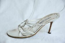 MANOLO BLAHNIK Womens Silver Leather Crystal Strappy High Heel Sandals 7.5-37.5