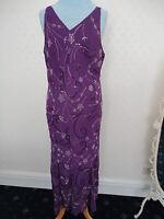BNWOT PURPLE BEADED & SEQUINNED MAXI DRESS BY BERKERTEX SIZE 18 - UNWORN