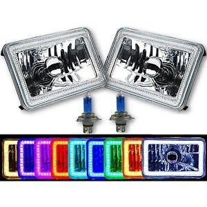 "4X6"" RGB SMD LED Color Change Halo Crystal Headlight H4 Light Bulb Headlamp Pair"