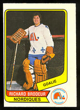 1976 77 OPC O PEE CHEE WHA 12 RICHARD BRODEUR EX-NM QUEBEC NORDIQUES HOCKEY CARD