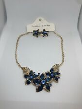 New Gold Toned Blue Flower And Blue Rhinestone Bib Necklace Earrings Set