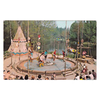 Disney Unused Postcard Indian Village Dancers and Canoe 1-297 Disneyland c1960s