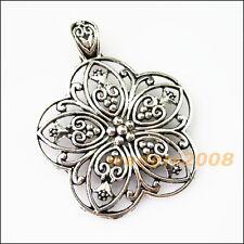 1 New Flower Tibetan Silver Bail Bead Fit Bracelet Chrams Connectors 53x67mm
