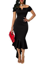 Black Off Shoulder Mermaid Fishtail Evening Dress UK 8 10 12 14 plus size 16 18