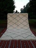 Beni ourain rug, Authentic Moroccan rug, Berber carpet, Genuine Wool rug, Handma