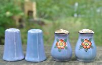 Vtge Japanese Blue and Peach Lusterware Set of 4 Small Salt and Pepper Sackers