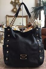 Michael Kors Black Pebbled Leather Gold Studded Chain Shoulder Bag Purse EUC!