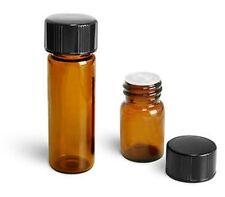 12 pcs Amber 1/4 Dram Vials w/Orifice Reducer & caps (15X19mm)