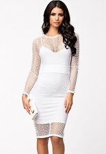 Netted Patchwork Cutout Night Club Party Midi Dress White Large