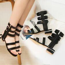 Womens High Top Zipper Sandals Boots Low Heel Hollow Out Summer Beach Walk Shoes