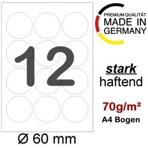 600 runde Etiketten Ø 60mm auf 50 Blatt A4 Aufkleber Weiß Format wie L3416 4477
